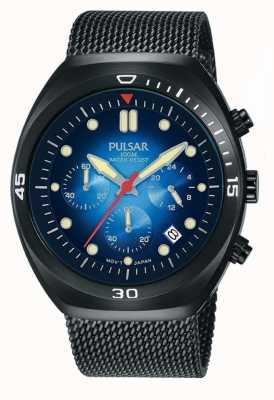 Pulsar Bracelet en cuir extra maille pvd chronographe noir PT3951X2