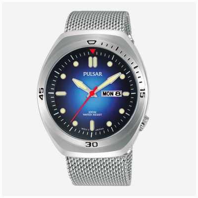 Pulsar Bracelet extra cuir pour homme en acier inoxydable avec cadran bleu PJ6097X2