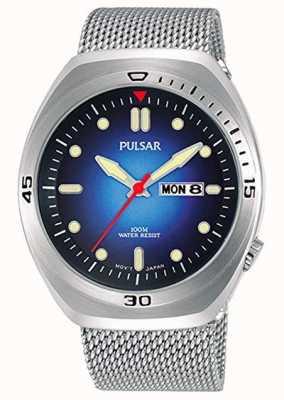 Pulsar Bracelet en cuir extra en acier inoxydable avec cadran bleu pour hommes PJ6097X2