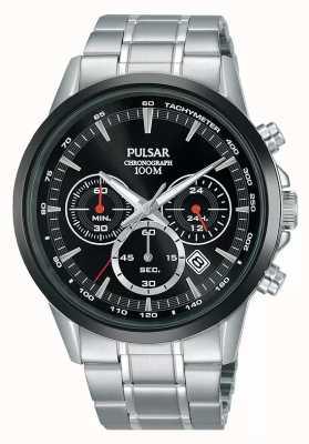 Pulsar Bracelet en acier inoxydable avec cadran noir pour homme PT3913X1