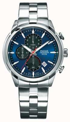 Pulsar Bracelet en acier inoxydable avec cadran bleu pour homme PM3115X1