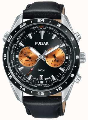 Pulsar Bracelet en cuir noir cadran noir pour homme PY7015X1