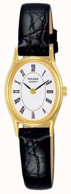 Pulsar Bracelet en cuir noir cadran blanc pour femme PPGD74X1