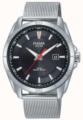 Pulsar Mens solaire | cadran noir | bracelet en maille d'acier inoxydable | PX3171X1