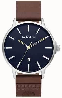 Timberland | hommes rollinsford | bracelet en cuir marron | cadran bleu | 15637JYS/03