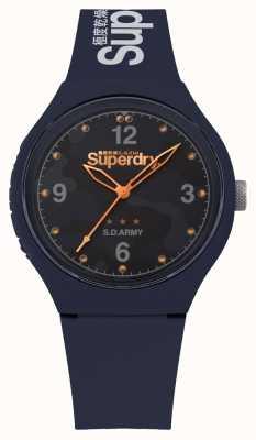 Superdry | mens urbain xl | bracelet en silicone bleu | cadran bleu | SYG254U