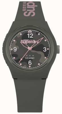 Superdry | femmes urbaines | bracelet en silicone kaki | cadran gris à motifs SYL254NP