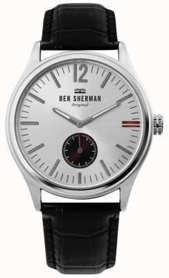 Ben Sherman | mens harrison city | cadran argenté | cuir croco noir | WB035B