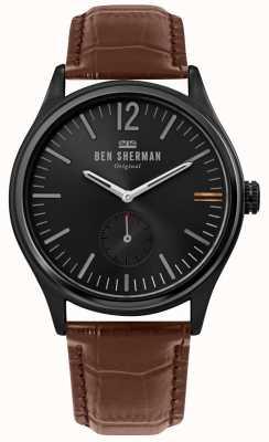 Ben Sherman | mens harrison city | cadran noir | cuir croco brun | WB035T
