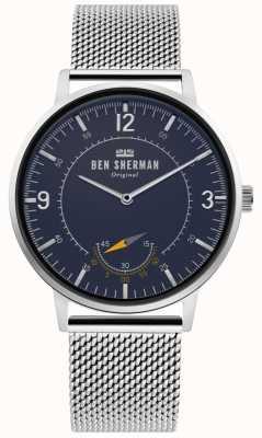 Ben Sherman | héritage de portobello pour hommes | cadran bleu | maille d'argent | WB034USM