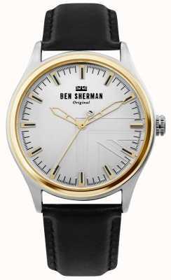 Ben Sherman | mens harrison | bracelet en cuir noir | cadran argenté | WB036B