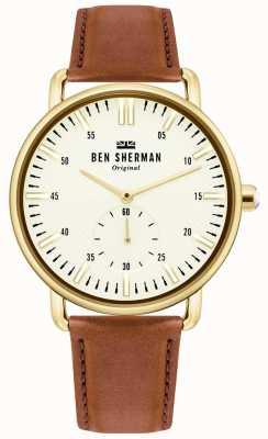 Ben Sherman | ville de brighton pour hommes | bracelet en cuir marron | cadran blanc | WB033TG