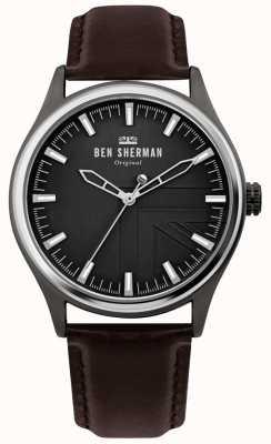 Ben Sherman | mens harrison | bracelet en cuir marron | cadran noir | WB036T