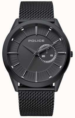 Police | helder mens | bracelet en filet noir | cadran noir | 15919JSB/02MM