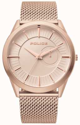 Police | helder mens | maille en or rose | cadran en or rose | 15919JSR/32MM