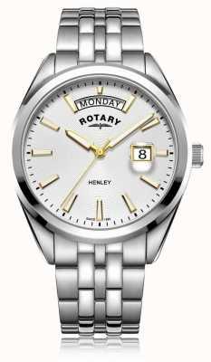 Rotary | mens henley | cadran blanc | bracelet en acier inoxydable argenté GB05290/70