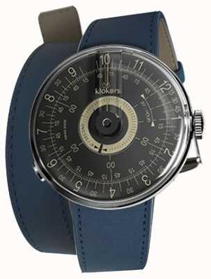Klokers Klok 08 Double Bracelet Bleu Indigo Cadran Noir KLOK-08-D3+KLINK-02-380C3
