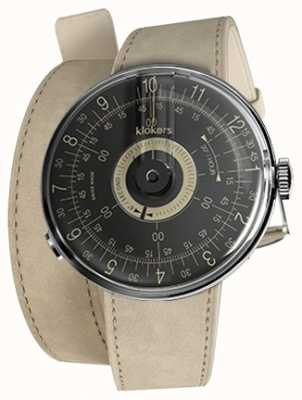 Klokers Klok 08 cadran noir alcantara gris double bracelet KLOK-08-D3+KLINK-02-380C6