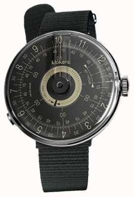 Klokers Klok 08 bracelet simple en textile noir avec cadran noir KLOK-08-D3+KLINK-03-MC3