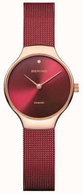 Bering | montre de charité pour femmes | bracelet en maille rouge | cadran rouge | 13326-CHARITY