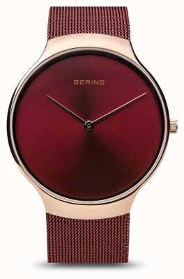 Bering | montre de charité pour femmes | bracelet en maille rouge | cadran rouge | 13338-CHARITY