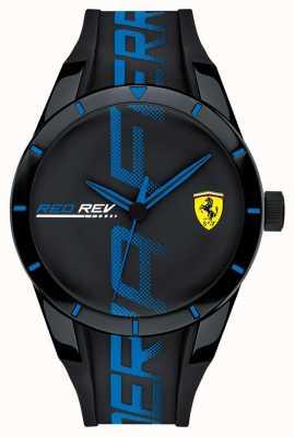 Scuderia Ferrari | redrev hommes | bracelet en silicone noir bleu | cadran noir | 0830616