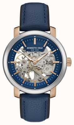 Kenneth Cole | mens automatique | bracelet en cuir bleu | cadran squelette bleu | KC50776002