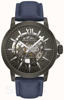 Kenneth Cole | mens automatique | cuir bleu | cadran métallique gun | KC50779002
