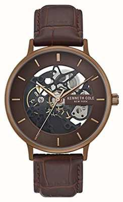 Kenneth Cole | mens automatique | bracelet en cuir marron | cadran marron | KC50780002
