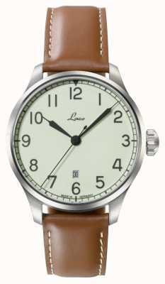 Laco | valencia 42 | montre marine automatique | cuir de veau beige | 861651.2