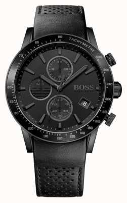 Hugo Boss | mens chronographe rafale | cadran noir | bracelet en cuir noir 1513456