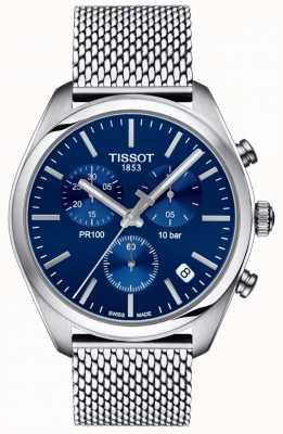 Tissot | chronographe homme pr100 | bracelet en maille | cadran bleu | T1014171104100