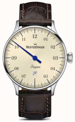 MeisterSinger Bracelet en alligator marron avec cadran couleur ivoire PMD903