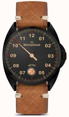 MeisterSinger Metris - ligne noire bracelet en cuir brun cadran noir ME902BL