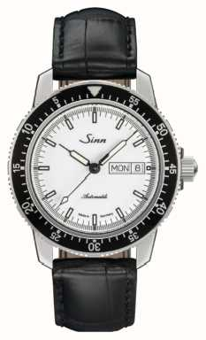 Sinn 104 st sa montre de pilote classique alligator en cuir gaufré 104.012 BLACK EMBOSSED LEATHER BLACK STITCHING