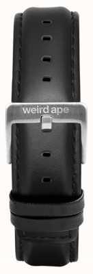 Weird Ape Bracelet en cuir noir avec boucle argentée de 16 mm ST01-000045