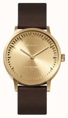 Leff Amsterdam | montre de tube | t32 | laiton | bracelet en cuir marron | LT74323