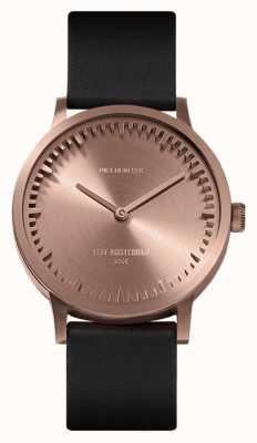 Leff Amsterdam | montre de tube | t32 | or rose | bracelet en cuir noir | LT74414