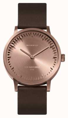 Leff Amsterdam | montre de tube | t32 | or rose | bracelet en cuir marron | LT74424