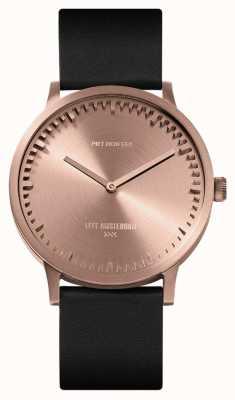 Leff Amsterdam | montre de tube | t40 | or rose | bracelet en cuir noir | LT75414