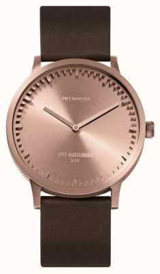 Leff Amsterdam | montre de tube | t40 | or rose | bracelet en cuir marron | LT75424