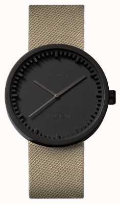 Leff Amsterdam | montre de tube | d38 | noir | sangle coedura sable | LT71013