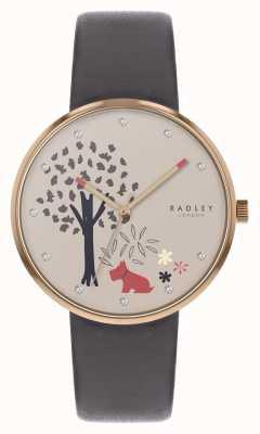 Radley | epping forest | cadran motif arbre et chien | cuir gris | RY2788