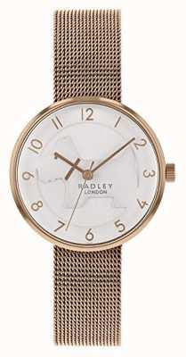 Radley   Bracelet en maille d'or rose pour femme   cadran de chien en relief blanc   RY4392