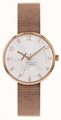 Radley | Bracelet en maille d'or rose pour femme | cadran de chien en relief blanc | RY4392