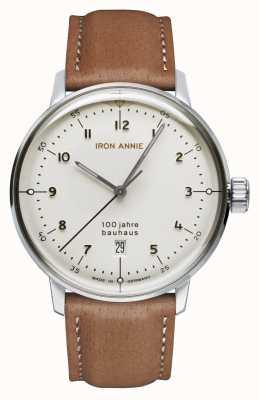 Iron Annie Bauhaus | cadran blanc | bracelet en cuir marron 5046-1