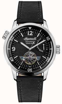 Ingersoll | mens new orleans | bracelet en cuir noir | cadran noir | I07801