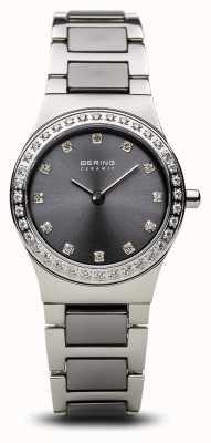 Bering | céramique pour femmes en argent poli | ensemble de cristal | cadran gris | 32426-703