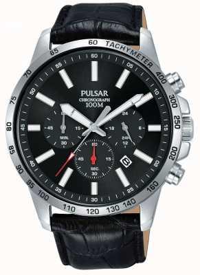 Pulsar | bracelet homme en cuir noir | cadran noir | PT3A01X1