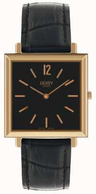 Henry London Montre Heritage pour homme, cadran noir, bracelet en cuir noir HL34-QS-0270